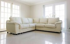 BRAND NEW CORNER SOFA AMY CREAM FAUX LEATHER LIVING ROOM SUITE