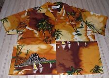 vtg 70s 80s kai NANI hawaiian HAWAII button SHIRT volcano BEACH polyester SAIL
