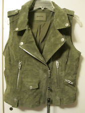 "Blank NYC Suede Leather Motorcycle ""Moto"" Style Jacket Vest Olive Green Sz M NWT"