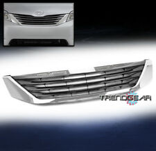 FOR 2011-2017 TOYOTA SIENNA FRONT HOOD UPPER GRILLE GRILL SHELL ABS BLACK/CHROME