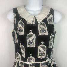 Folter Fight Or Flight Black White Sleeveless Vintage Birdcage Dress M Made USA