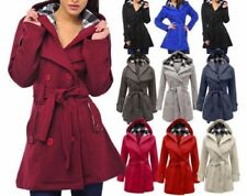 WOMENS BELTED BUTTON COAT NEW LADIES HOODED MILITARY JACKET PLUS SIZE 8 TO 26