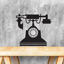 Decorazione MURALE ADESIVO MURO TELEFONO ARREDAMENTO Nero Vintage Decalcomania 35cm x 31cm