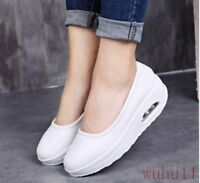 New Womens Mary Jane Round Toe Loafers Slip On Wedge Heel Nurse Pump Wedge Shoes