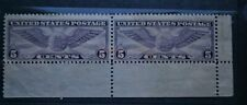 US Horizontal Pair Scott No. C12 MNH 5 Cent Violet Perf. 11 Winged Globe