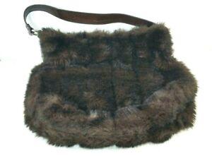 Bath & Body Works Brown Faux Fur Shoulder Bag Purse Tote Handbag