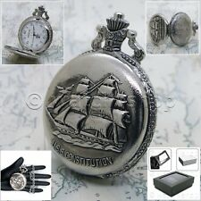 Silver Antique Ship Design Cover Men Big 47 MM Pocket Watch Fob Chain Box P211