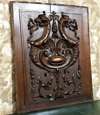 Griffin bow ribbon wood carving panel Antique french architectural salvage