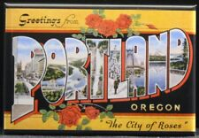 "Greetings From Portland Vintage Postcard 2"" X 3"" Fridge Magnet. Oregon"