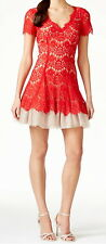 Betsy & Adam New Short-Sleeve Lace Fit & Flare Dress Size 8 #DN 1049