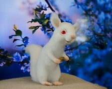 White albino felted squirrel OOAK Collection forest animal Stuffed toy