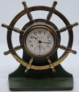 Antique 1920's INGRAHAM 'Verona' Mechanical Wind-Up Brass Ships Wheel Desk Clock
