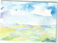 WATERCOLOR LANDSCAPE Original Painting Mountains ACEO small ART card mini ATC NR