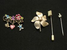 Lot of 4 Pins ~ 2 Stick Pins and two Brooches All Gold tone