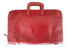 WILSONS LEATHER Pelle Studio Red Attache Briefcase Bag Italian