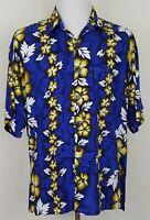 Hawaiian Shirt Mango Moon Mens Size XL Rayon Aloha Floral Blue Short Sleeve