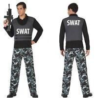 Déguisement NOIR Homme Policier SWAT XL Adulte Cinéma Police film NEUF Pas cher