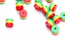 Pack of 100 Rasta Resin Beads. 8mm Diameter. 9mm length. Jamaica Reggae Stripes