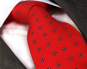 PATTERNED RED SILK TIE - ITALIAN DESIGNER Milano Exclusive