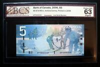 2008 BANK OF CANADA $5 *Low Serial Number* APT0000243 BCS UNC63 Original BC-67b