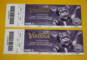 Minnesota Vikings Ticket Stub   October 12 2008   Calvin Johnson TD