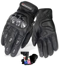 Brando Motorbike Gloves Leather Vented Carbon Knuckle Shell Protection