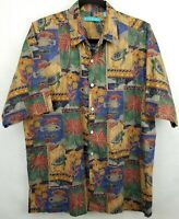 Tori Richard Mens Cotton Lawn SS Button Down Hawaiian Floral Shirt Size Medium