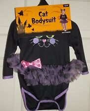 New Girls size 6-12 Months Black Cat Bodysuit  Halloween