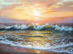 J. Litvinas Original Oil Painting 'SUNSET' 16 by 12 inches
