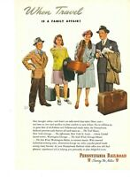 Vintage Print Ad ~ 1946 ~ Pennsylvania Railroad ~ Travel is a Family Affair