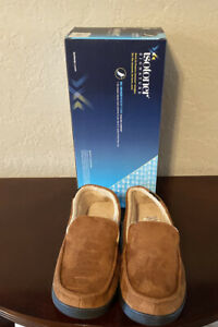 Men's Isotoner Slippers Signature Gel Infused Memory Foam Cognac L 9.5-10.5 NEW