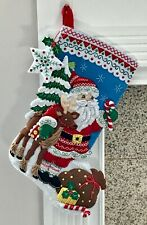 "FINISHED Bucilla ""NORDIC SANTA""  Christmas Stocking * Fully Lined * 18"""