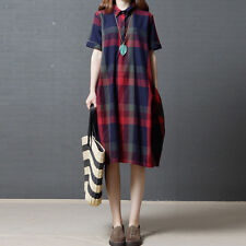 UK STOCK Women Turndown Check Plaid Shirt Loose Baggy Tunic Midi Dress Plus Size