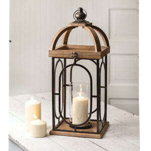 Barclay Candle Lantern in Distressed Wood and Metal