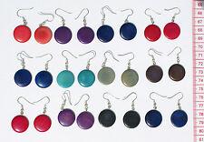 Lot 10 Pairs Peruvian Tagua Colored Coin Earrings Handmade Artisan Jewelry Peru