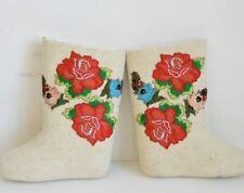 embroidery White Russian valenki felt boots handmade traditional Russian village