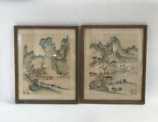 More details for vintage antique chinese watercolour painting on silk houses fishing seal mark
