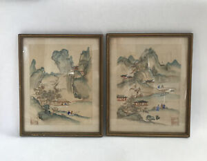 Vintage Antique Chinese Watercolour Painting On Silk Houses Fishing Seal Mark