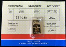 CREDIT SUISSE SWITZERLAND GOLD 5 GRAMS 999.9 FINE BAR WITH ASSAY CARD