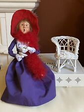 Byers' Choice Ltd Caroles 2004 Red Hat Purple Dress Society Women Chair Witch?
