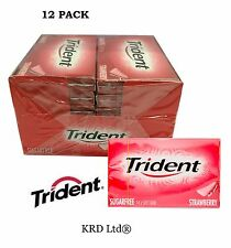 12 Packs x TRIDENT STRAWBERRY Soft Chewing Gum Packet Packs Sugar Free FULL BOX