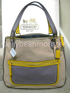 COACH 22430 HALLIE POPPY COLORBLOCK LEATHER TOTE BAG PURSE Cappuccino Oyster NEW
