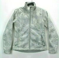 The North Face Women Small White Floral Soft Shell Full Zip Fleece Lined Jacket