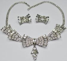 DECO DEMI PARURE BRIDAL BAGUETTE RHINESTONE TIERED LAYERED NECKLACE EARRINGS SET