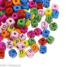 """200 Hello New Wood Spacer Beads Alphabet A-Z Cube Mixed 8mm x8mm( 3/8"""" x 3/8"""")"""