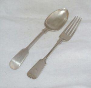 Antique EPNS Fiddle Pattern Serving Spoon & Fork Mixed - H Samuel & Naylor Clark