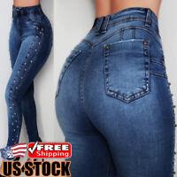 Women Stretch Pencil Jeans Ladies Casual Denim Skinny Pants High Waist Trousers