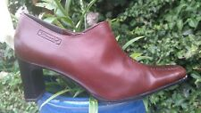 TAMARIS SMART DISTRESSED CHESTNUT LEATHER ANKLE BOOTS SIZE 7