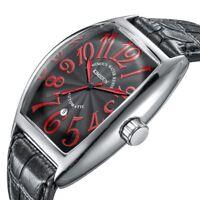 Luxury Tonneau Automatic Mechanical Men Wrist Watch Business Date Leather Band