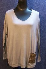 Diane Gilman XS Grey Shirt with Gold Sequin Pocket